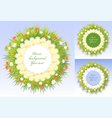 Set Picnic frames with grass and flowers vector image vector image