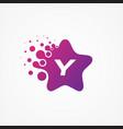 stars pixel for technology symbol letter y design vector image vector image
