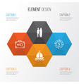 tourism icons set collection of security baggage vector image vector image