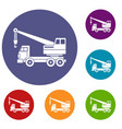 truck crane icons set vector image vector image