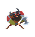 viking warrior character in helmet with horns and vector image vector image