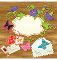 Wooden background with butterflies beetle flower vector image