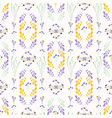 yellow and purple wild flower vintage pattern vector image