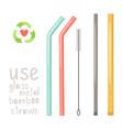 zero waste straws vector image vector image