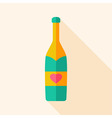 Alcohol bottle with heart vector image