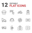 12 assistance icons vector image vector image