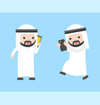 arab businessman and gadget such as cellphone vector image vector image
