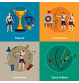 Archery Flat 2x2 Icons Set vector image vector image