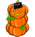 black cat and three halloween pumpkin vector image vector image