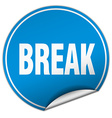 break round blue sticker isolated on white vector image vector image