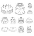 Cake and dessert outline icons in set collection