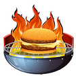 Cheeseburger on hot grill vector image vector image