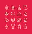christmas design stylish set decorative icons vector image