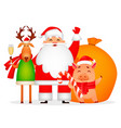 christmas greeting card funny santa claus vector image