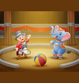 circus ringmaster performs a trick along with elep vector image vector image