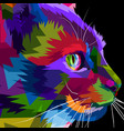 close up face side cat vector image vector image