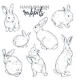 collection hand drawn realistic sketch vector image vector image