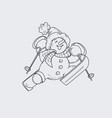 Cute smiling snowman in ski happily jumping up to vector image