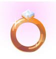 diamond ring shining golden ring vector image