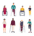 different disabled people cartoon flat vector image vector image