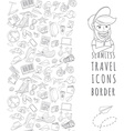 Doodle icons seamless travel frame vector image vector image