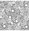 doodles floral seamless pattern vector image vector image