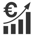 euro bar chart trend flat icon vector image vector image
