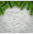fir tree branches on a white brick wall background vector image vector image