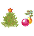 fir tree decorated with star and green spruce vector image vector image