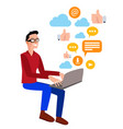 flat of a man with a laptop vector image vector image