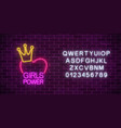 girls power sign in neon style with alphabet vector image vector image
