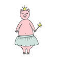 hand-drawn pig fairy in a crown vector image vector image
