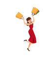 happy girl holding shopping bags - cartoon woman vector image