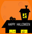 happy halloween haunted house roof attic loft two vector image vector image