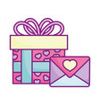 happy valentines day gift box and envelope vector image vector image