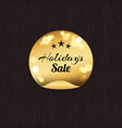 holidays sale golden label stars on blurred gold vector image vector image