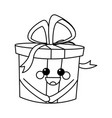 kawaii gift box party celebration cartoon icon vector image vector image