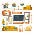 living room interior set furniture vector image
