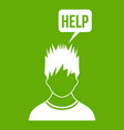 man needs help icon green vector image