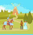 medieval scene knight peasants vector image