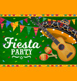 mexican sombrero guitar and maracas banner vector image vector image