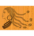Outline portrait of beautiful African tribal girl vector image vector image