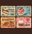 pastry confectionery sweets rusty plates set vector image vector image