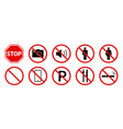 prohibition signs public attention forbidden vector image vector image