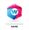 realistic letter w in colorful hexagonal vector image vector image
