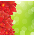 Red Flowers Border With Green Bokeh vector image
