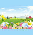 rural landscape with blooming flowers vector image vector image