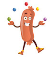 sausage juggling on white background vector image vector image
