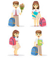 schoolboy and schoolgirl with backpack vector image