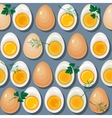 Seamless pattern with eggs yolks and parsley vector image vector image